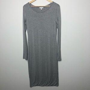 Leith Grey Scoop Neck Long Sleeve Midi Dress